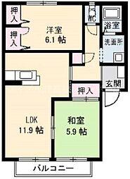 香川県高松市木太町の賃貸アパートの間取り