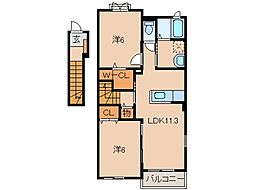 JR紀勢本線 黒江駅 徒歩12分の賃貸アパート 2階2LDKの間取り