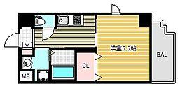 アール大阪グランデ 11階1Kの間取り