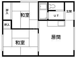 曙ハウス 2階2LDKの間取り