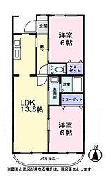 ハートヒルズ弐番館(ハートヒルズニバンカン)[2階]の間取り