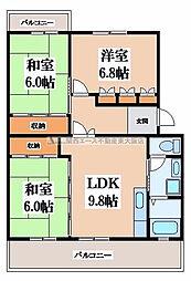 シュロス若江[3階]の間取り