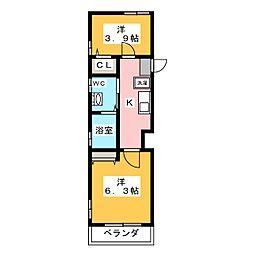 Abete横浜A 1階2Kの間取り