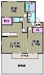 大阪府堺市西区上野芝向ヶ丘町4丁の賃貸アパートの間取り