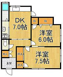 グリーンルーム武庫之荘1[1階]の間取り