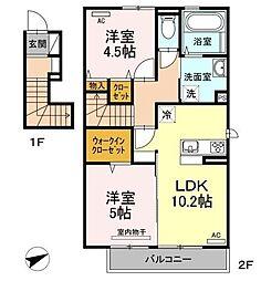 JR鹿児島本線 九産大前駅 徒歩8分の賃貸アパート 2階2LDKの間取り