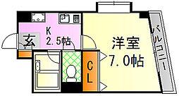 牛田本町 橋本ビル 1階1Kの間取り