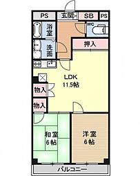 東野第2グリーンハイツ山科[406号室号室]の間取り