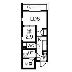 名古屋市営東山線 中村日赤駅 徒歩5分の賃貸マンション 4階1LDKの間取り
