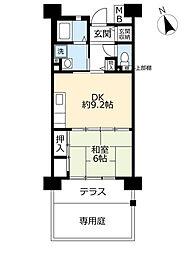 UR奈良学園前・鶴舞 1階1DKの間取り