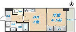 スタシオン俊徳道 10階1DKの間取り