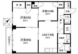 神奈川県横浜市中区滝之上の賃貸マンションの間取り