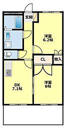 愛知県豊田市桝塚東町西郷の賃貸アパートの間取り
