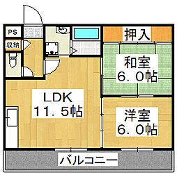 ハミング北花田[3階]の間取り