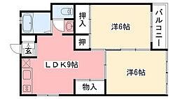 兵庫県西宮市上甲子園4丁目の賃貸マンションの間取り