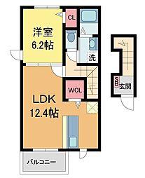 阪急神戸本線 夙川駅 徒歩13分の賃貸マンション 2階1LDKの間取り