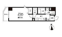 都営三田線 芝公園駅 徒歩2分の賃貸マンション 4階1Kの間取り