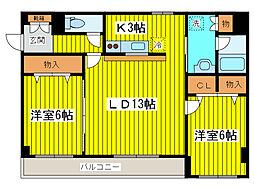 北海道札幌市東区北八条東19丁目の賃貸マンションの間取り