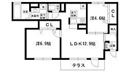 兵庫県西宮市上甲東園5丁目の賃貸アパートの間取り