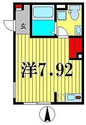 東京メトロ半蔵門線 住吉駅 徒歩5分の賃貸マンション 2階ワンルームの間取り
