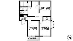 ファミール岡本[1階]の間取り