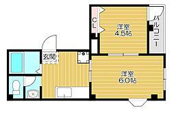 京阪本線 滝井駅 徒歩1分の賃貸マンション 3階2Kの間取り