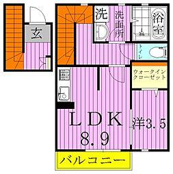 ラ・ルーナ 2階1LDKの間取り
