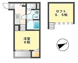 愛知県名古屋市中村区上米野町4丁目の賃貸アパートの間取り