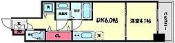 レオンコンフォート本町クレセント 2階1DKの間取り