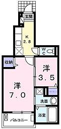 東京都青梅市河辺町6丁目の賃貸アパートの間取り