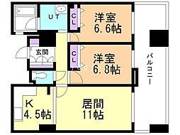 エスポアシティ札幌コンフォートプレイス 8階2LDKの間取り