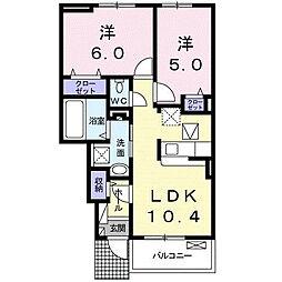 小田急小田原線 座間駅 徒歩19分の賃貸アパート 1階2LDKの間取り