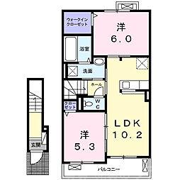 近鉄長野線 富田林西口駅 徒歩7分の賃貸アパート 2階2LDKの間取り