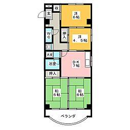 メゾンド・リオン今伊勢[6階]の間取り