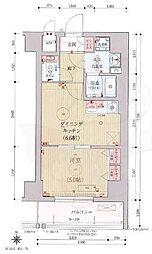 ベラジオ京都西院ウエストシティ3 4階1DKの間取り