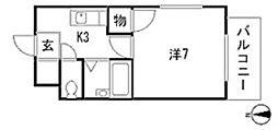 広島高速交通アストラムライン 長楽寺駅 徒歩7分の賃貸マンション 2階1Kの間取り