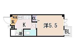 大阪府東大阪市下小阪3丁目の賃貸マンションの間取り