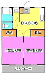 東京都東久留米市神宝町2丁目の賃貸アパートの間取り