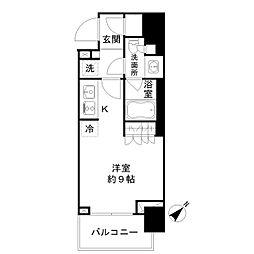 都営新宿線 馬喰横山駅 徒歩4分の賃貸マンション 4階ワンルームの間取り