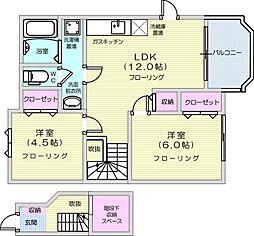 仙台市地下鉄東西線 八木山動物公園駅 3.6kmの賃貸アパート 2階2LDKの間取り