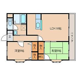 奈良県奈良市六条の賃貸マンションの間取り
