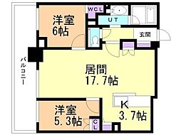 ザ・グランアルト札幌 苗穂ステーションタワー 16階2LDKの間取り