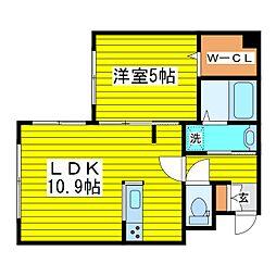 札幌市営東豊線 元町駅 徒歩10分の賃貸マンション 4階1LDKの間取り