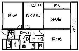 大阪府岸和田市八阪町2丁目の賃貸マンションの間取り