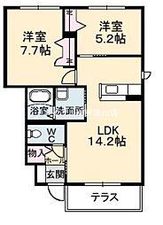 岡山県岡山市東区中尾丁目なしの賃貸アパートの間取り