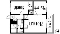 兵庫県川西市丸の内町の賃貸アパートの間取り