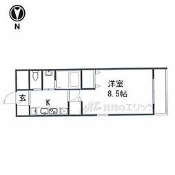 京都市営烏丸線 今出川駅 徒歩8分の賃貸マンション 2階1Kの間取り