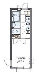 クレイノ幸(55958-201) 2階1Kの間取り