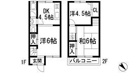 [テラスハウス] 兵庫県宝塚市野上1丁目 の賃貸【/】の間取り