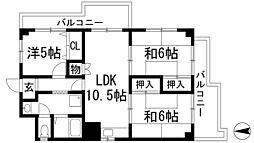 大阪府池田市渋谷2丁目の賃貸マンションの間取り